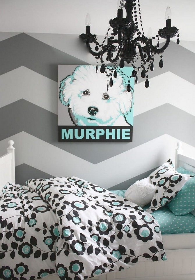 Patterned Contemporary Kids Rooms contemporary kids rooms Patterned Contemporary Kids Rooms Refined gray and turquoise teen bedroom