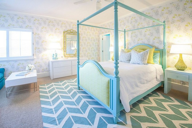 Patterned Contemporary Kids Rooms contemporary kids rooms Patterned Contemporary Kids Rooms Serene girls bedroom in turquoise and white with wallpapered walls