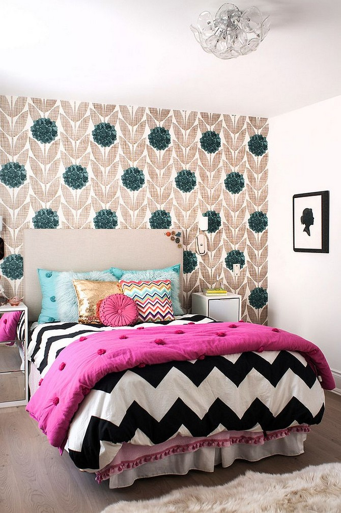 Patterned Contemporary Kids Rooms contemporary kids rooms Patterned Contemporary Kids Rooms Transitional kids bedroom with wallpapered accent wall and quilt with chevron pattern