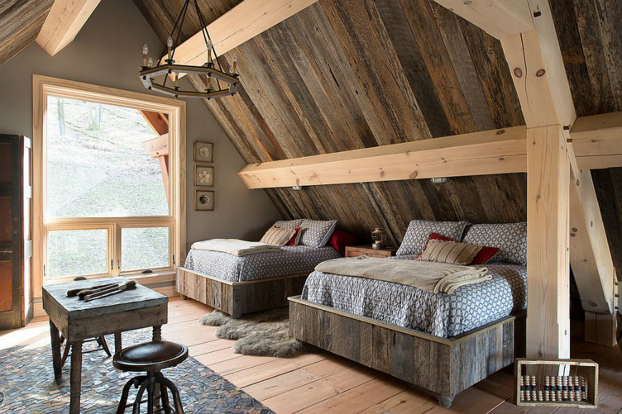 reclaimed-wood-is-the-star-of-this-rustic-bedroom reclaimed wood walls Bedroom Ideas with Reclaimed Wood Walls Reclaimed wood is the star of this rustic bedroom