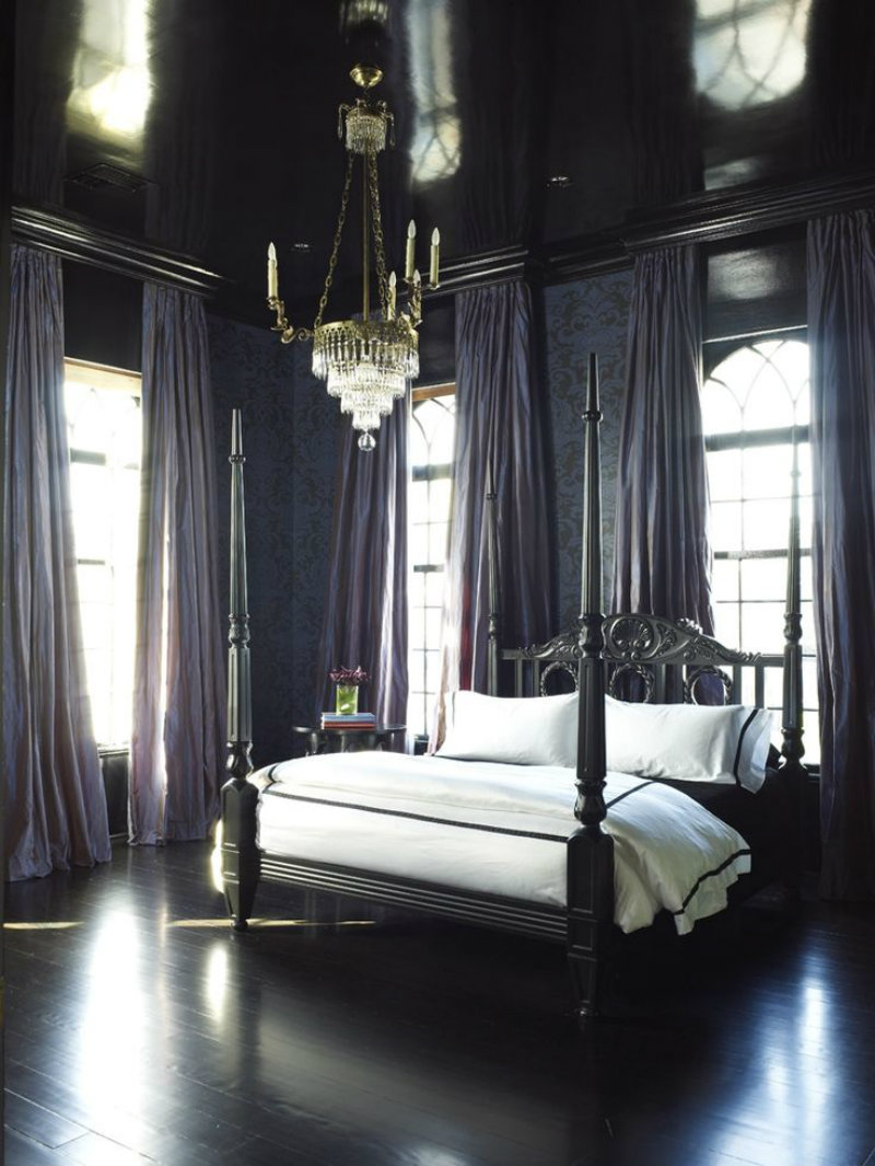 Royal-Dark-Bedroom-Design bedrooms with high ceilings Unique Ways to Decorating Bedrooms with High Ceilings Royal Dark Bedroom Design