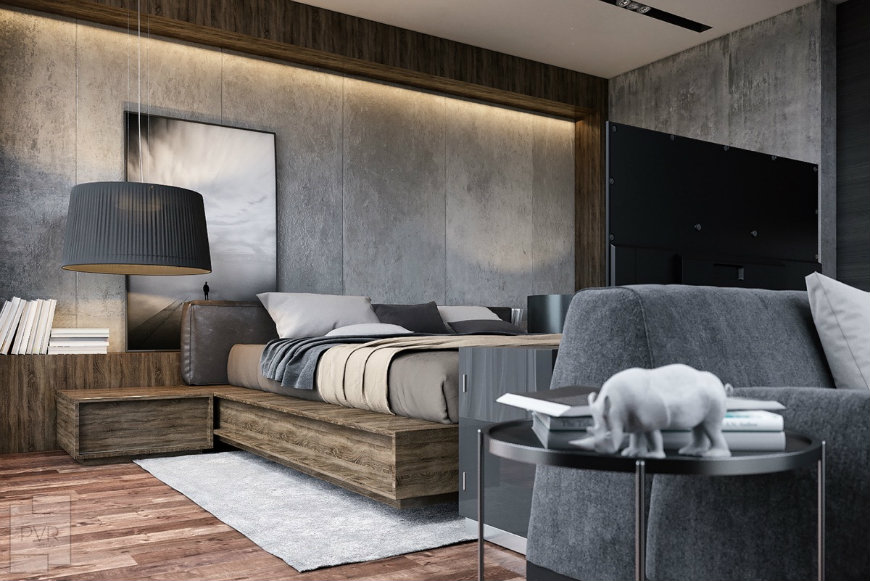 concrete-and-wood-bedroom wall designs Striking and Artistic Wall Designs to Decorate Your Bedroom concrete and wood bedroom