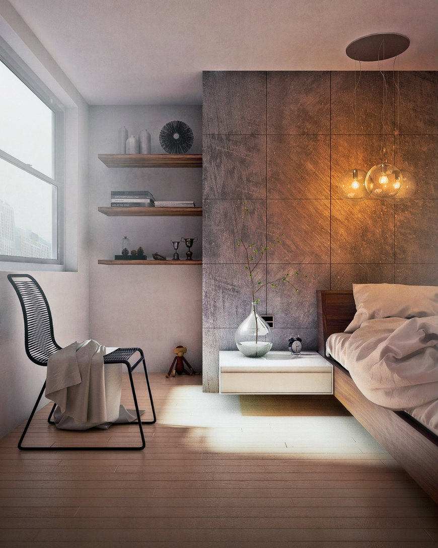 concrete-bedroom-wall-ideas wall designs Striking and Artistic Wall Designs to Decorate Your Bedroom concrete bedroom wall ideas