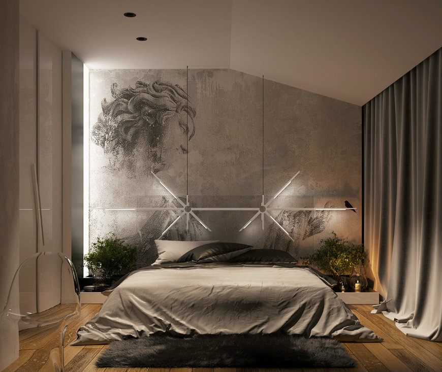 creative-concrete-wall-finish wall designs Striking and Artistic Wall Designs to Decorate Your Bedroom creative concrete wall finish