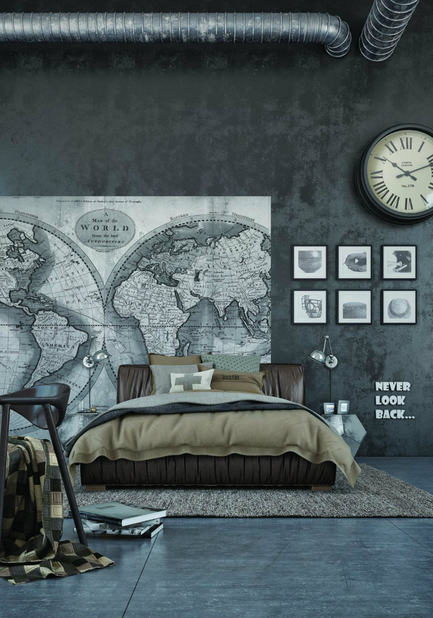 dark-concrete-bedroom-walls wall designs Striking and Artistic Wall Designs to Decorate Your Bedroom dark concrete bedroom walls