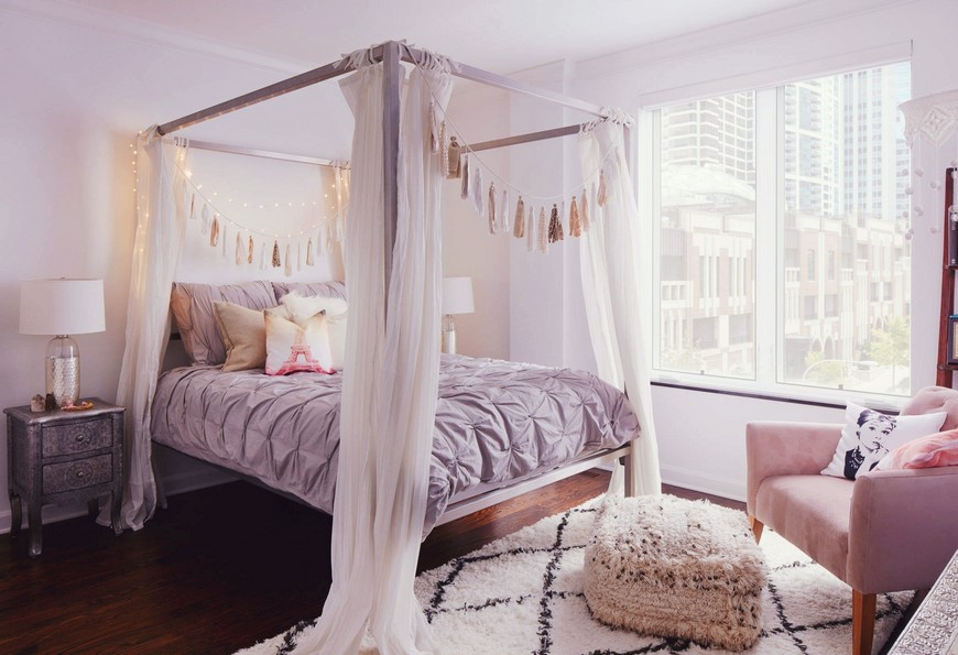 5 Stunning Pastel Rooms Decorating With Pantone 2016 Color throughout Pink Bohemian Bedroom bedroom designs Bedroom Designs with Bohemian-Styled Four Poster Beds A cozy bohemian nook with white curtains source decoist