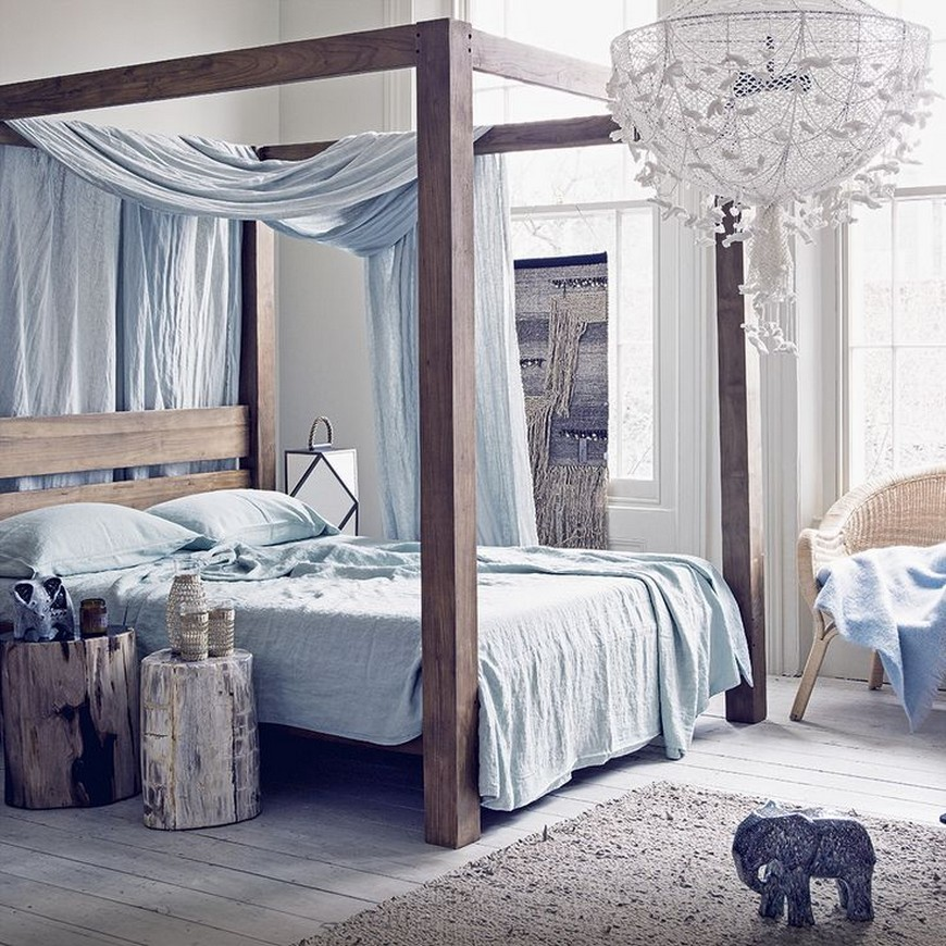 Bedroom Designs With Bohemian Styled Four Poster Beds