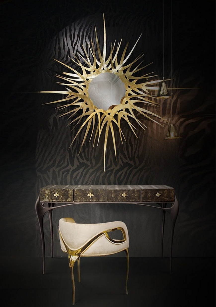 luxury consoles luxury consoles 25 Ingenious Luxury Cabinets that You Will Absolutely Adore guilt mirror temptation console chandra chair koket projects