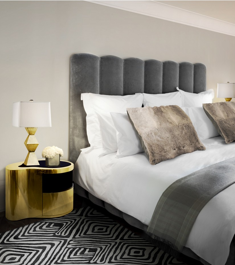 bedroom color schemes Best Bedroom Color Schemes Made in wood finished with manually hammered copper with a curvilinear top made from black mirror