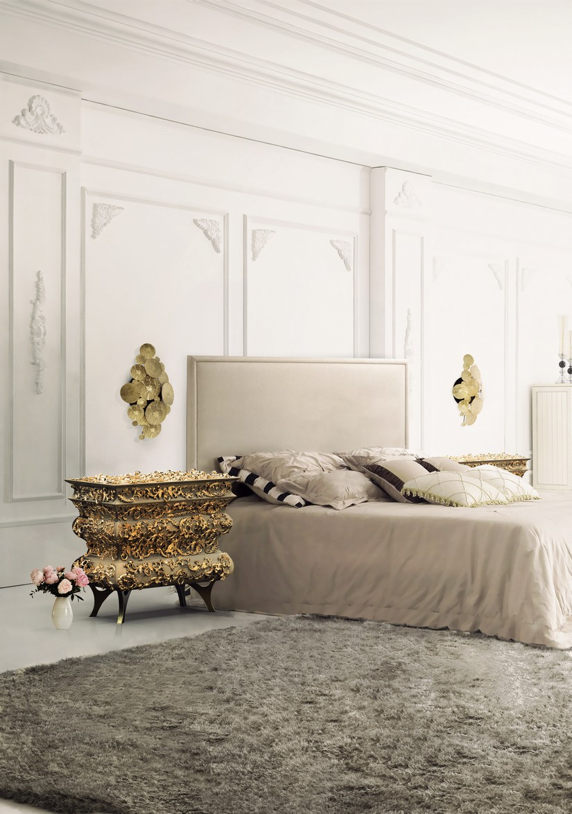 Bedroom Accessories Bedroom Accessories for a Modern Decoration Night stand made in wood finished with a golden leaf with a translucent beige and a high gloss varnish